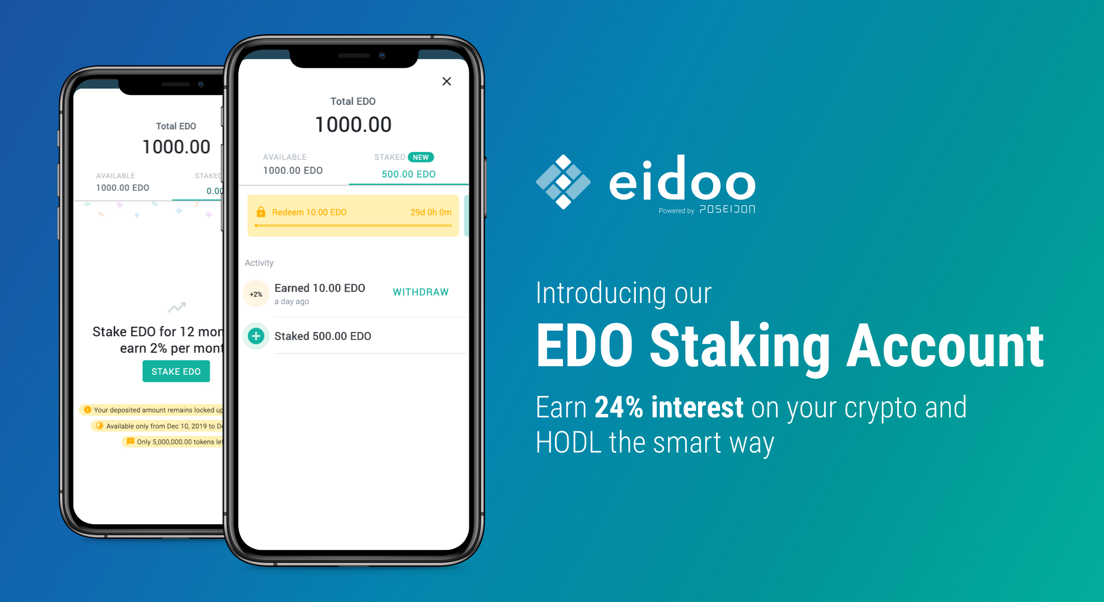 Introducing the EDO Staking Account: earn interest on your crypto