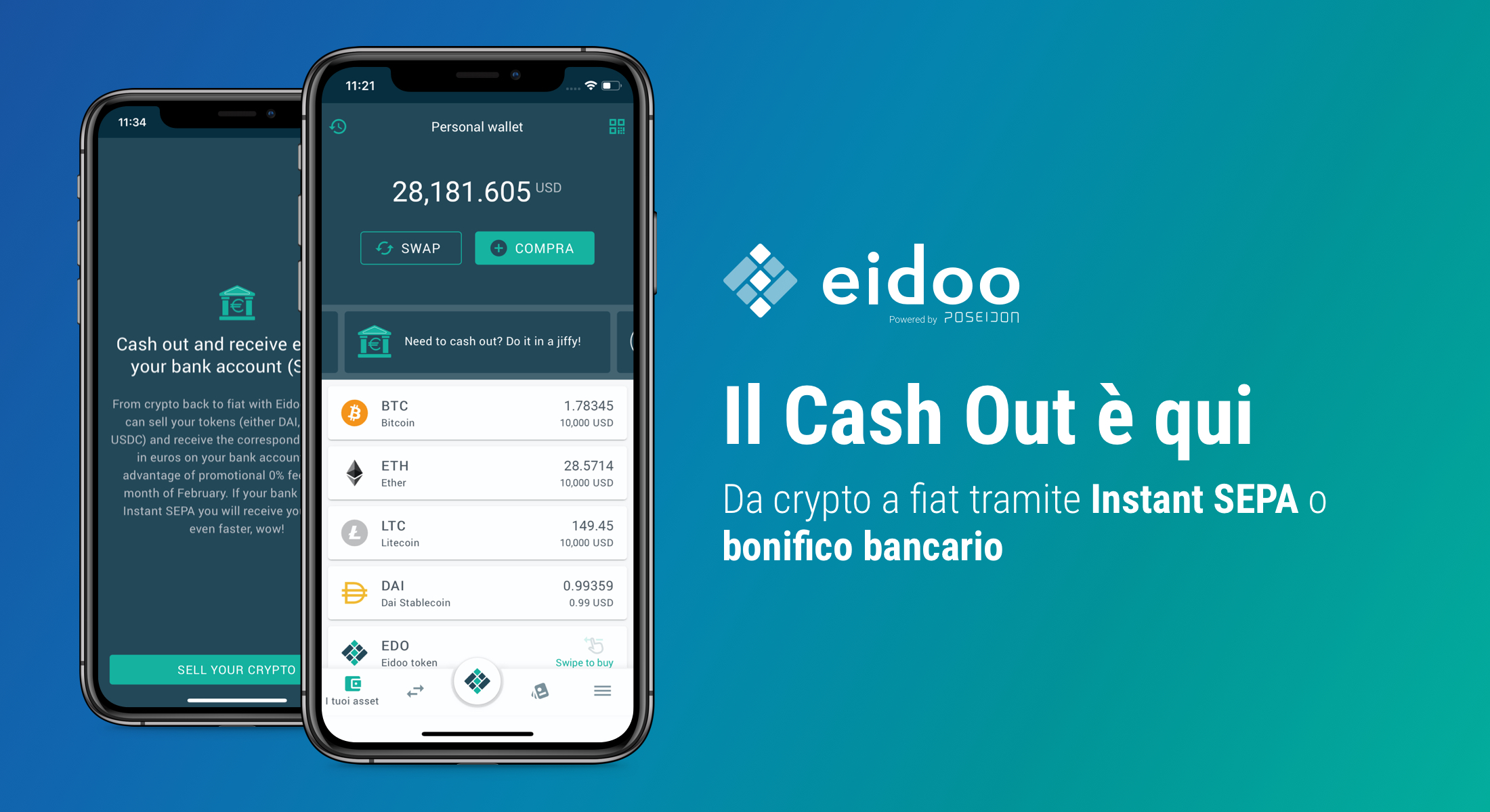 Eidoo: cash out crypto istantaneo con Instant SEPA