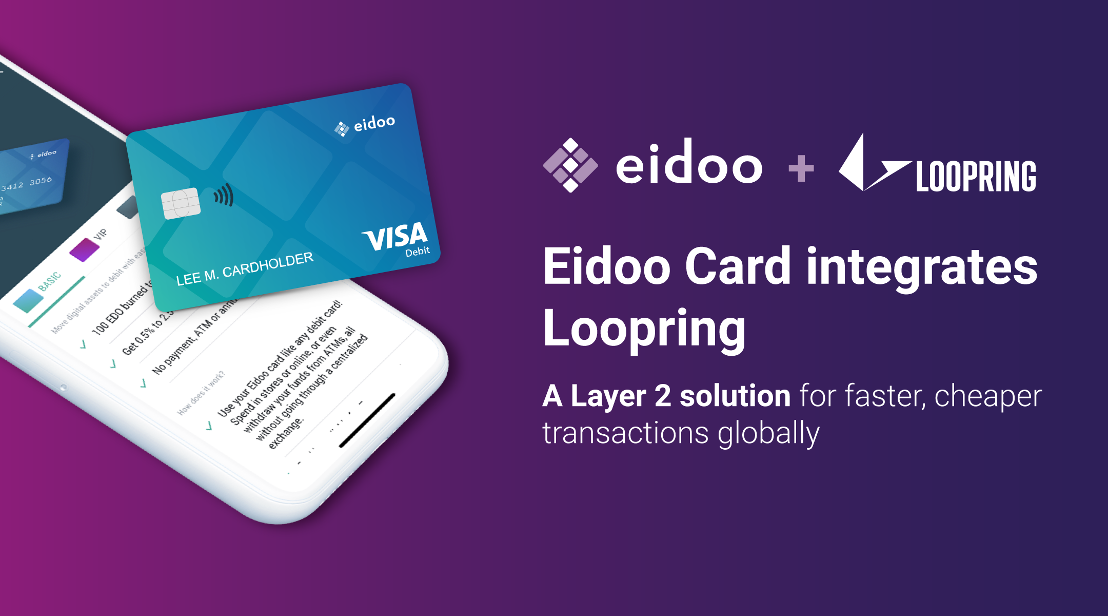 Eidoo Card integrates Loopring, the Layer 2 solution for faster, cheaper transactions globally