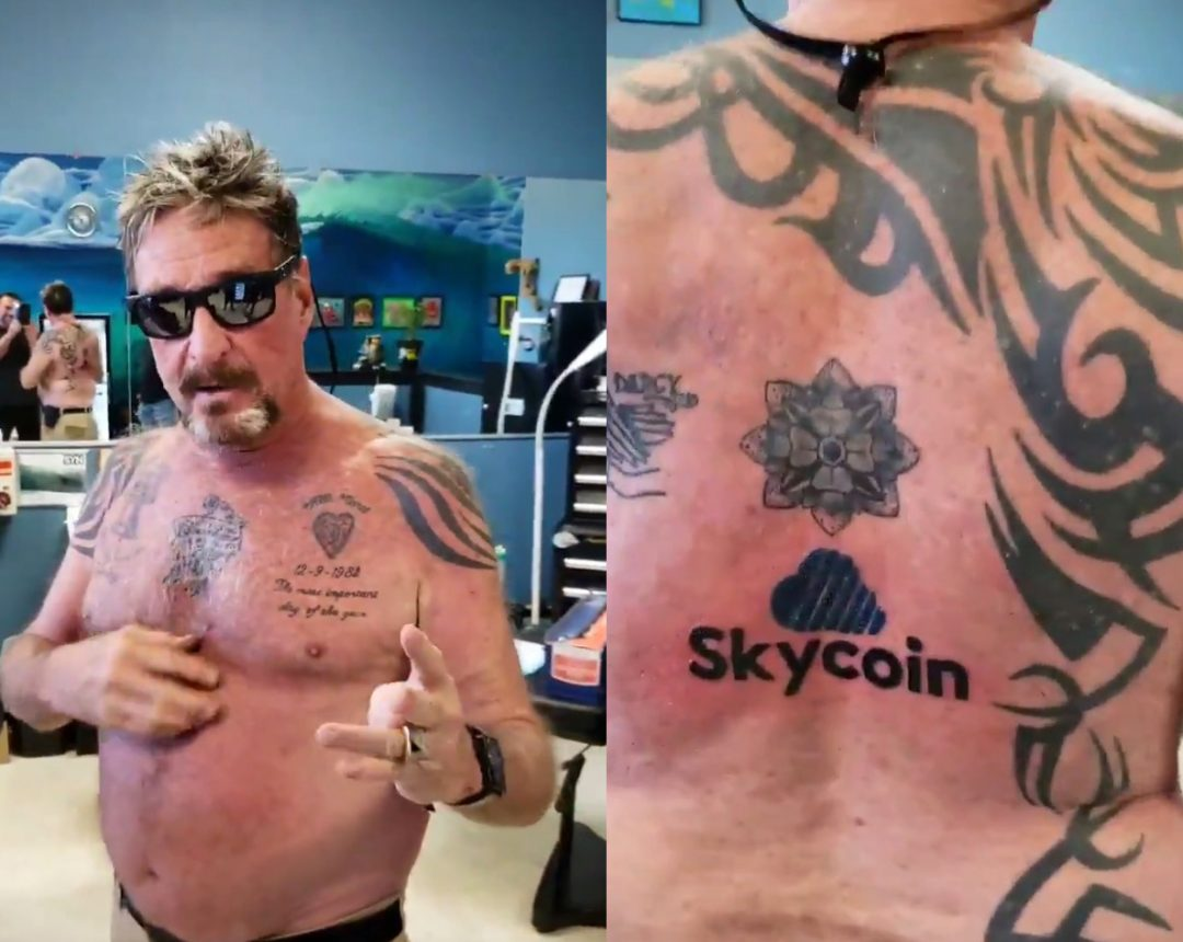 McAfee, a tattoo dedicated to Skycoin