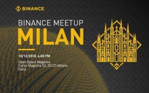 The next Italian Binance Meetup will be held in Milan