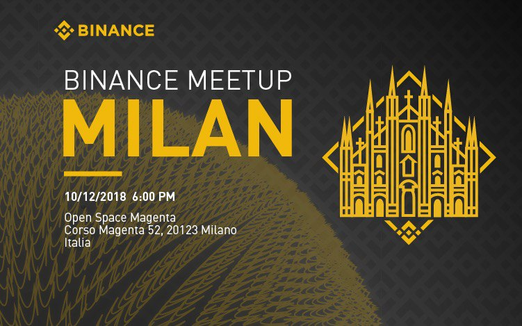 The next Italian Binance Meetup will be held in Milan