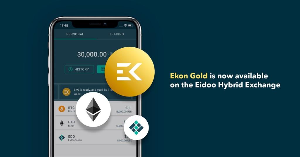 Ekon Gold is now available on the Eidoo Hybrid Exchange