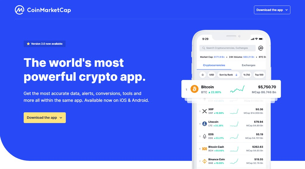 Coinmarketcap: the app with the news from Cryptonomist