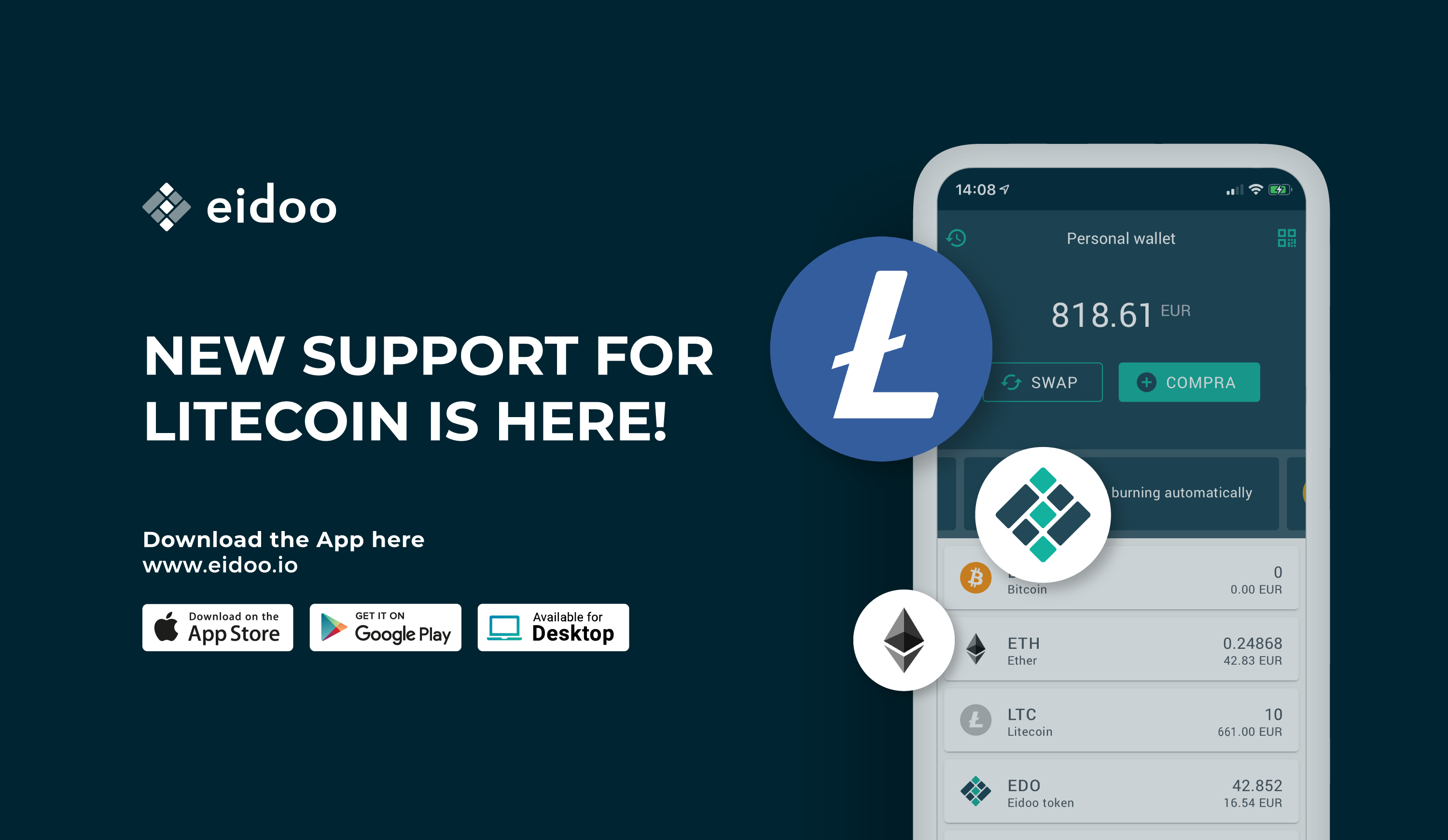 Eidoo: the wallet now supports Litecoin