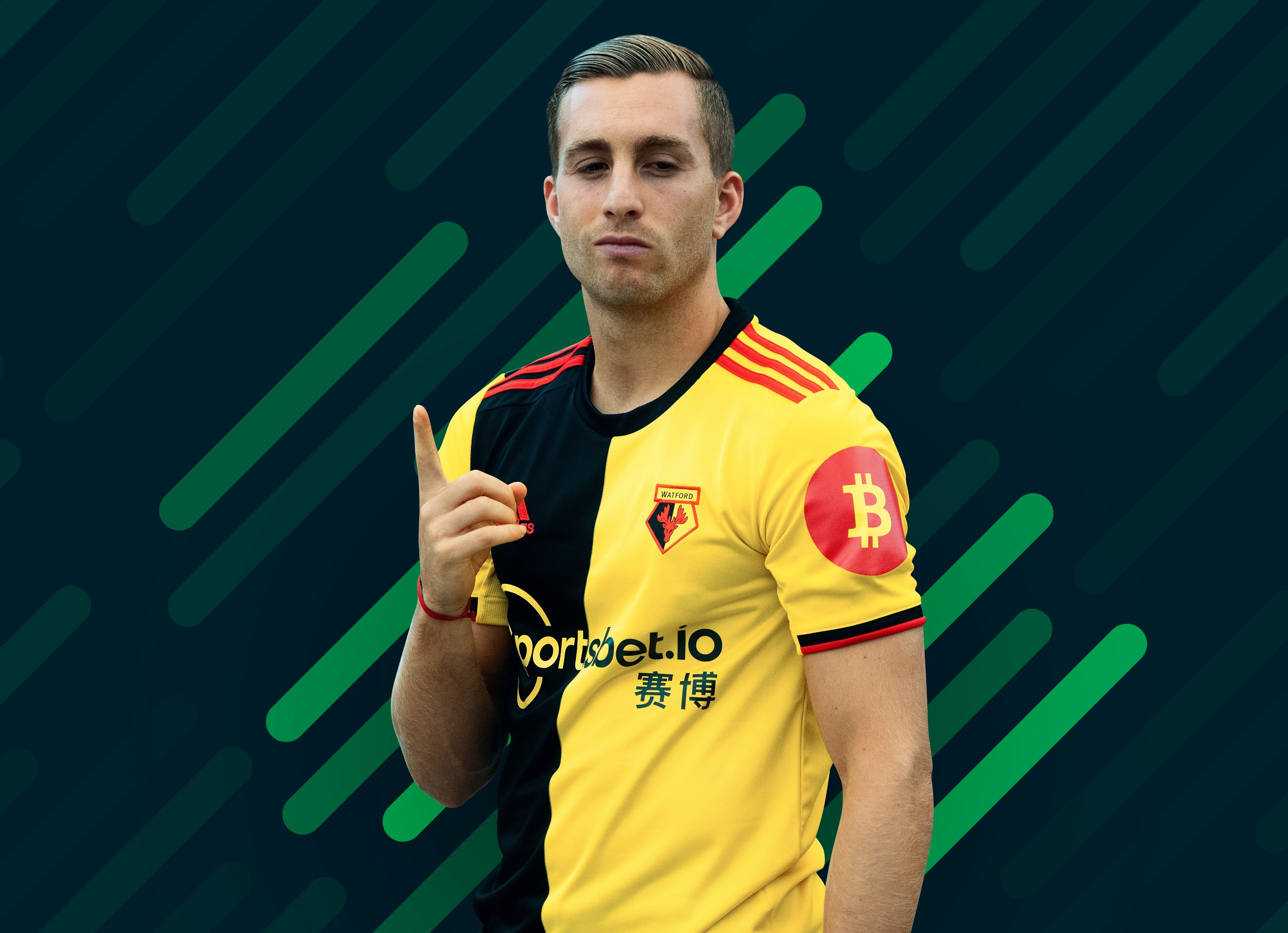The Bitcoin logo on the Watford jerseys