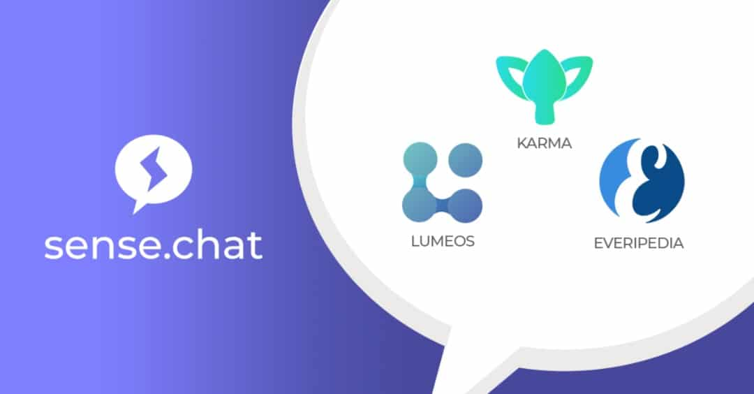 Sense.chat app: Everipedia, Karma and Lumeos open new channels