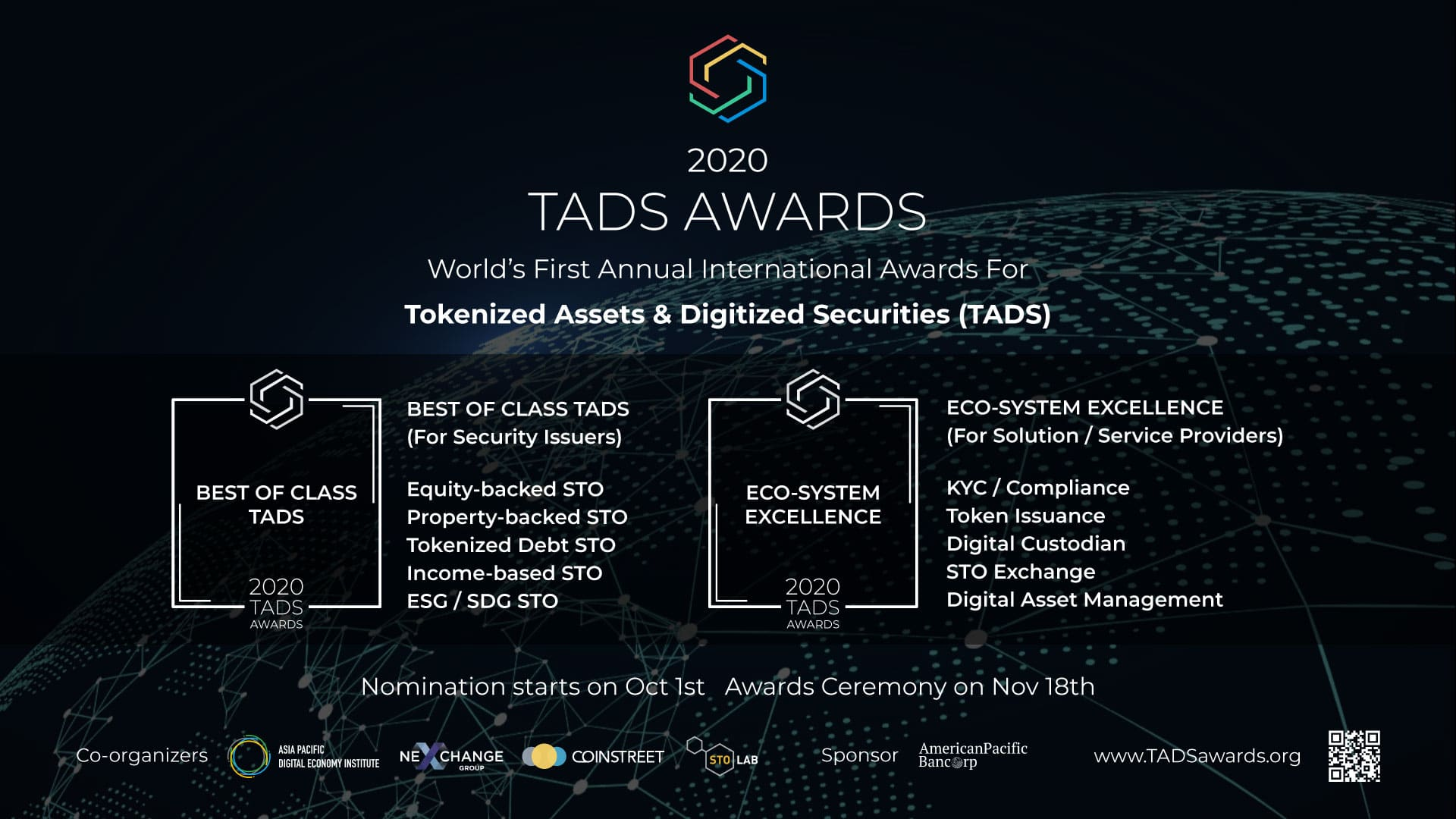 TADS AWARDS:The World's First Annual International Awards For Tokenized Assets